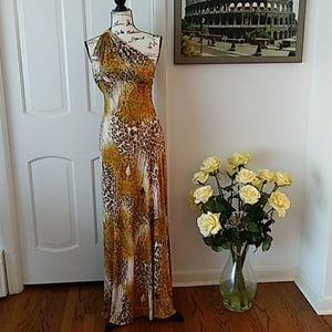 Animal Print Grecian Style Gown